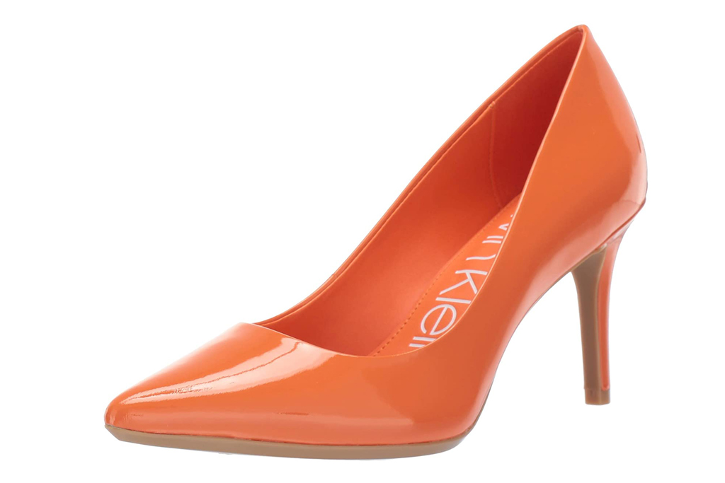 calvin klein, pumps, orange