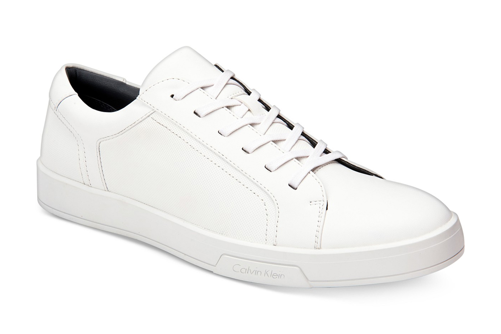calvin klein, sneakers, white leather, mens