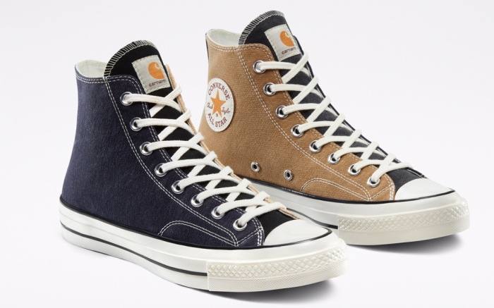 carhartt, converse, renew, sneakers, chuck 70, all star, navy, tan