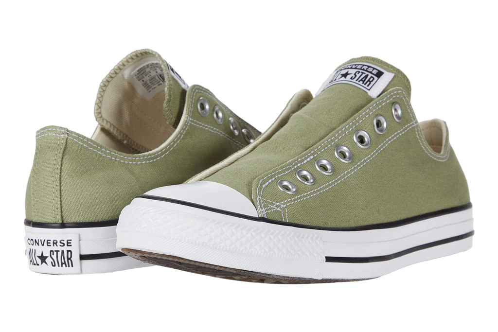 converse, sneakers, slip on, green