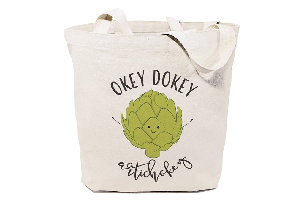 cotton and canvas co, bag, tote, artichoke, groceries