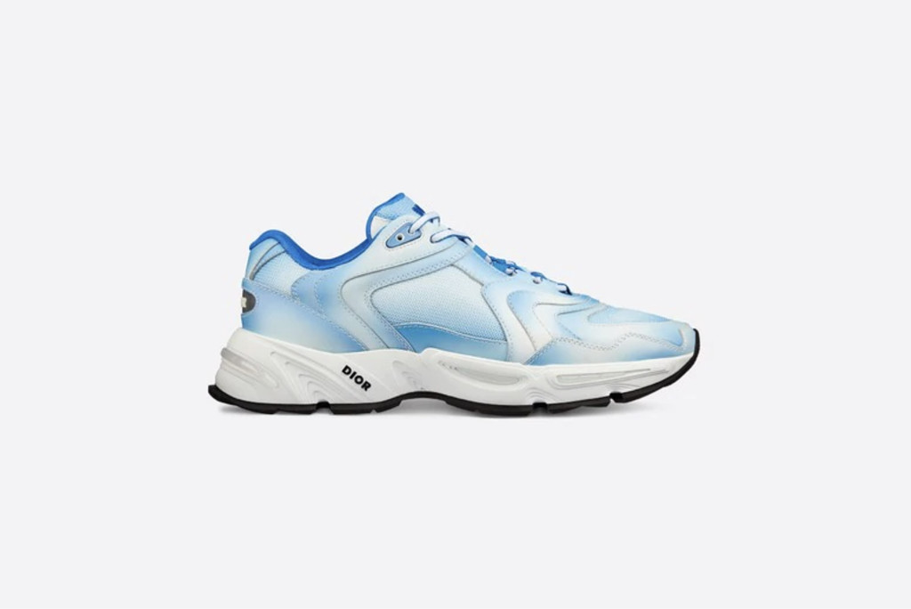 best dior sneakers, Dior CD 1 Sneaker in Gradient Blue Technical Mesh and Calfskin, designer sneakers, dior sneakers