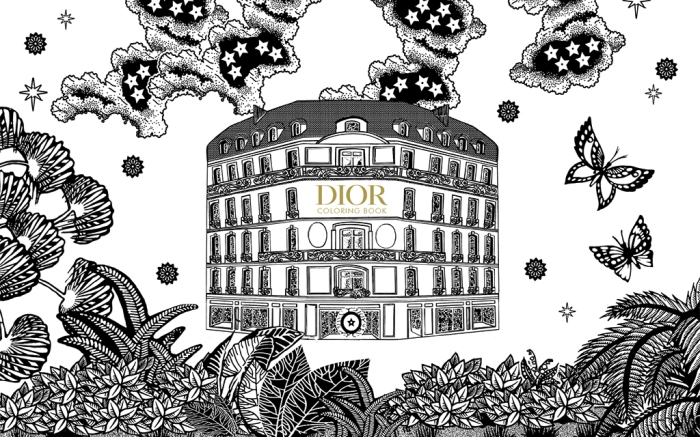 Dior and the art of color, coloring book, fashion coloring book.