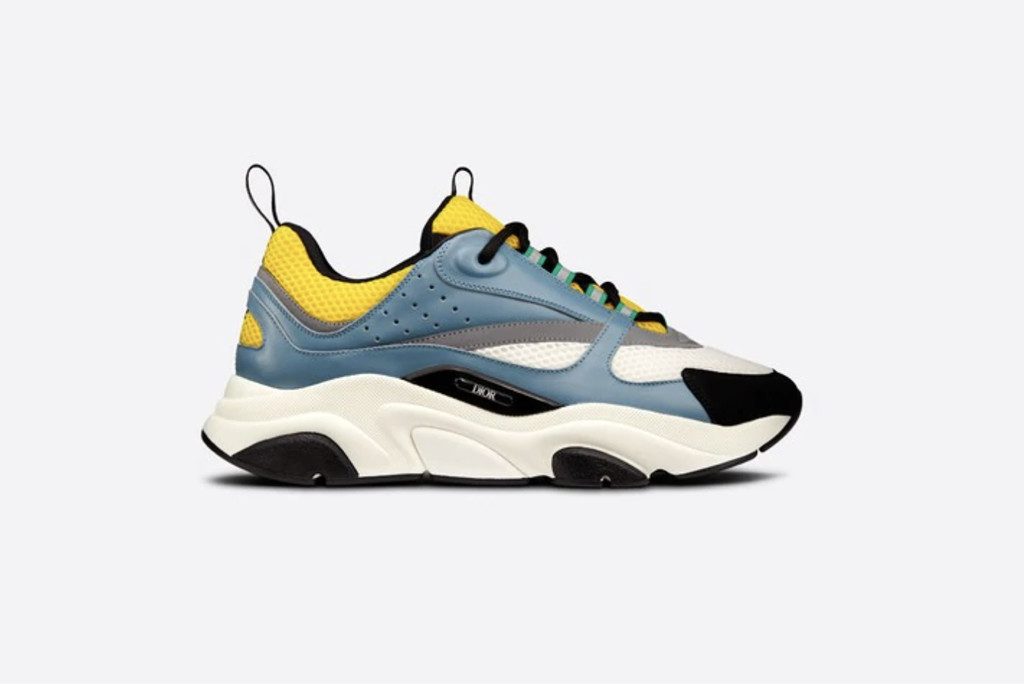 best dior sneakers, B22 SNEAKER Blue Calfskin with Yellow and White Technical Mesh, dior sneaker, designer sneaker