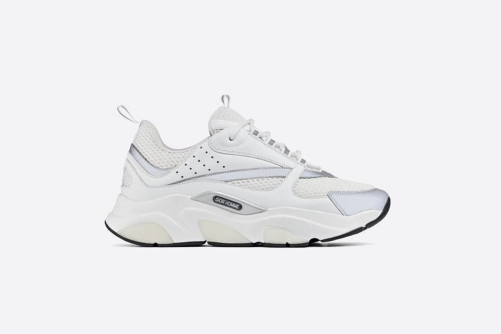 best dior sneakers, Dior B22 Sneaker in White Technical Mesh with White and Silver Calfskin, designer sneakers, dior sneakers