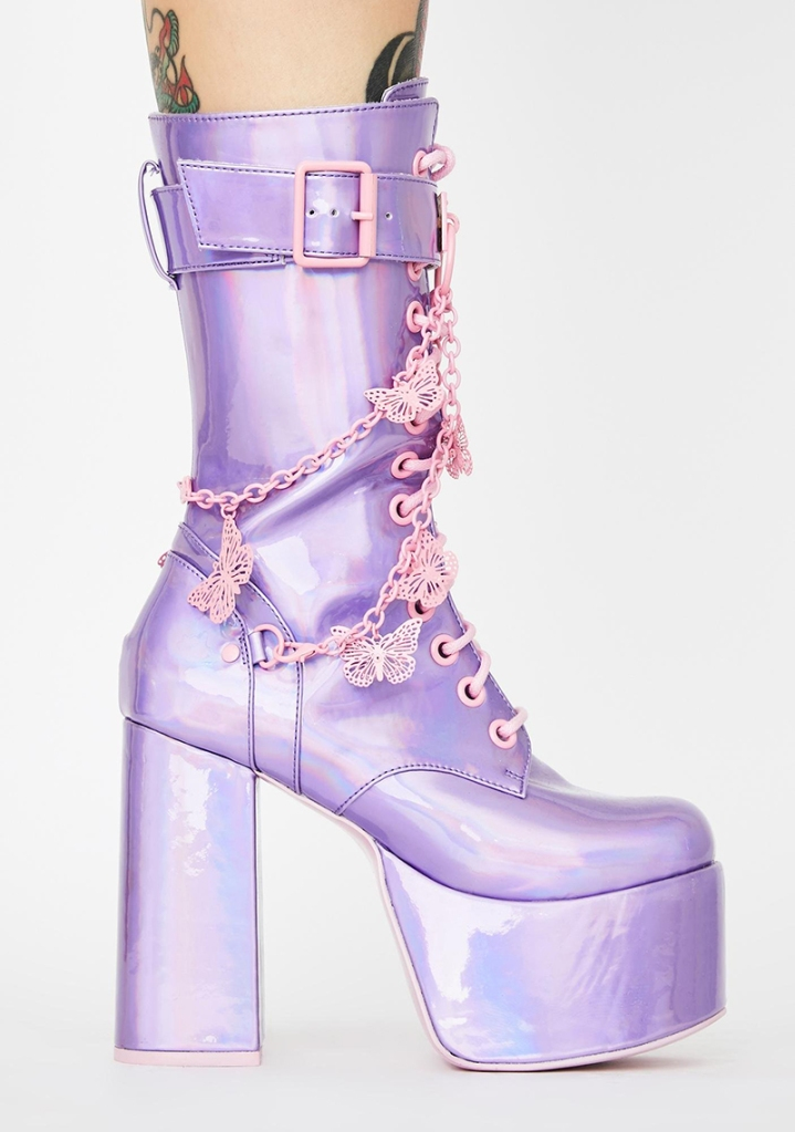 purple, platform boots, metallic, chain, butterfly