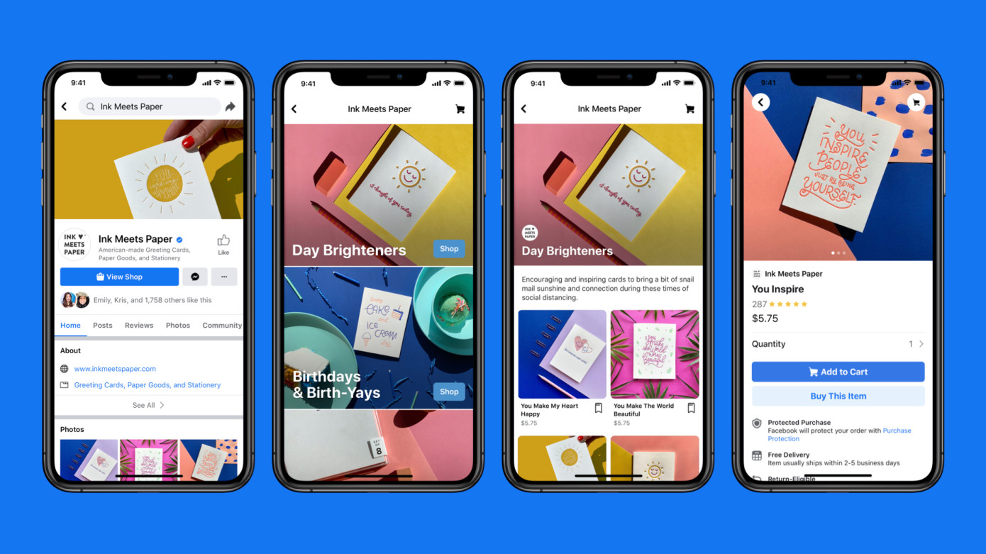 Screenshots of Facebook's new Facebook Shops feature for e-commerce