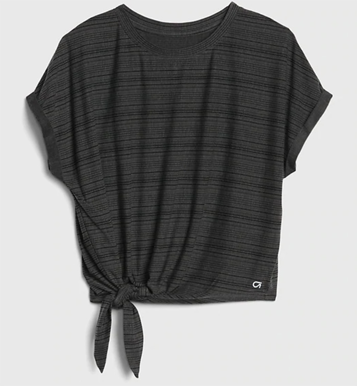 gap, workout shirt, tie front