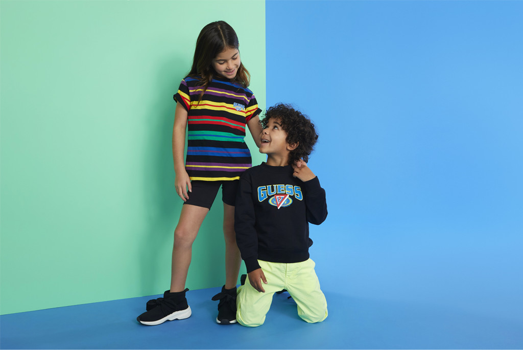 The kids line from the GUESS x J Balvin Colores Collection, kids clothes, summer clothes for kids