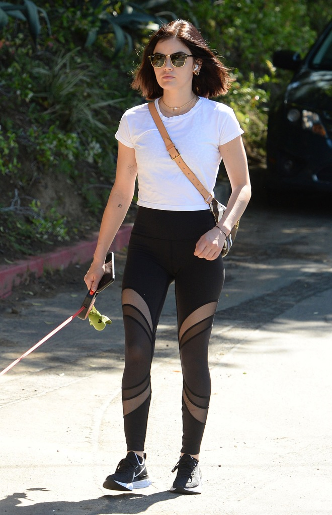 Lucy Hale, white t shirt, sheer leggings, nike renew run, black sneakers, louis vuitton bum bag, walks her dogLucy Hale out and about, Los Angeles, USA - 06 May 2020