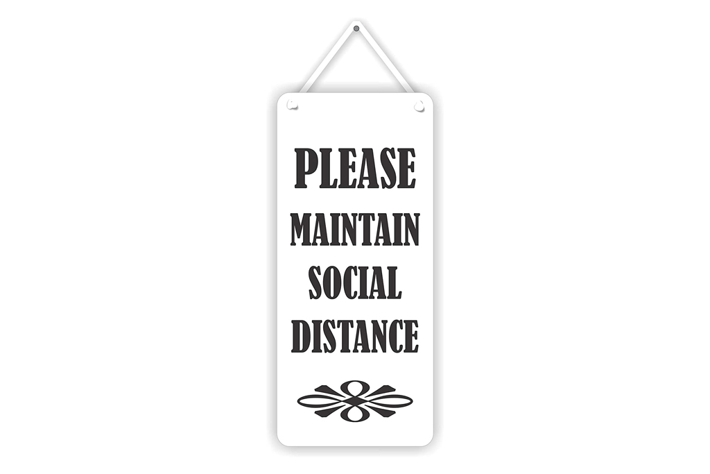 hanging sign, social distance
