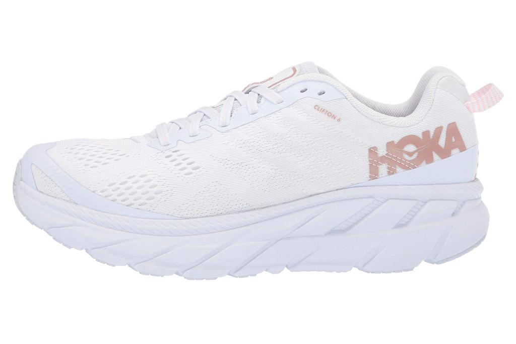 hoka one one, white, pink, gold, running shoes