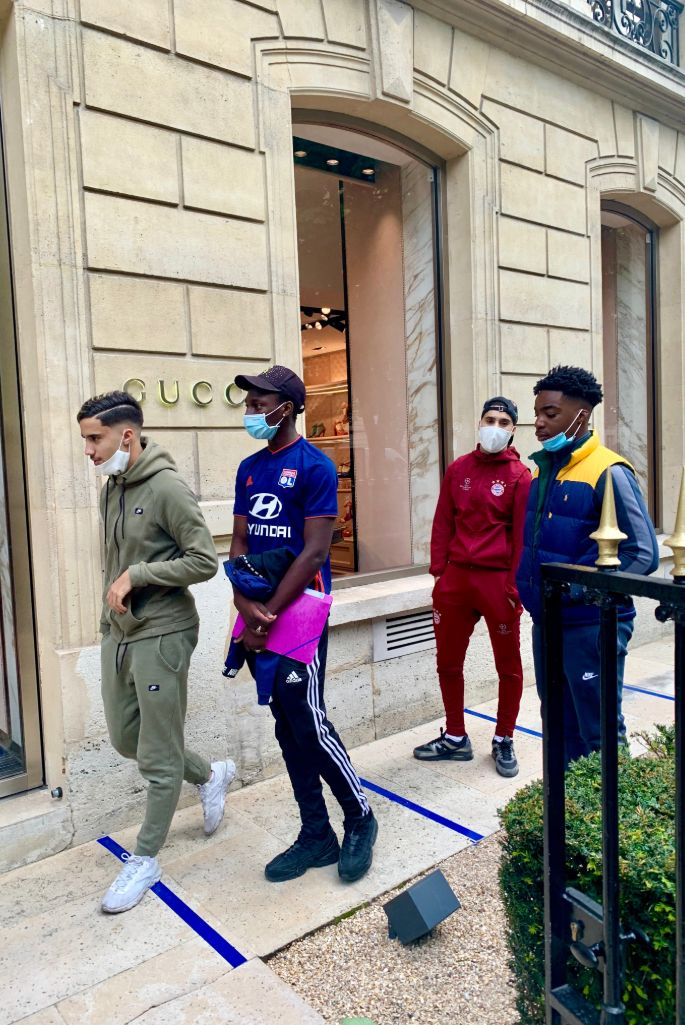 Outside the Gucci store on Avenue Montaigne