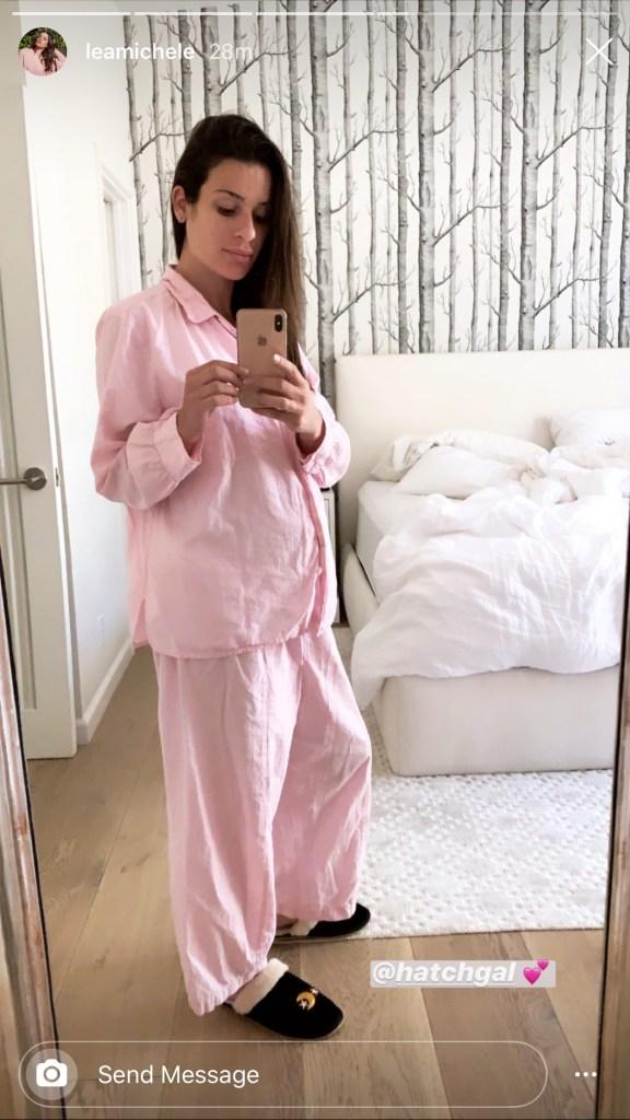 lea michele, pajamas, pregnant, maternity, style, pajamas, slippers, soludos