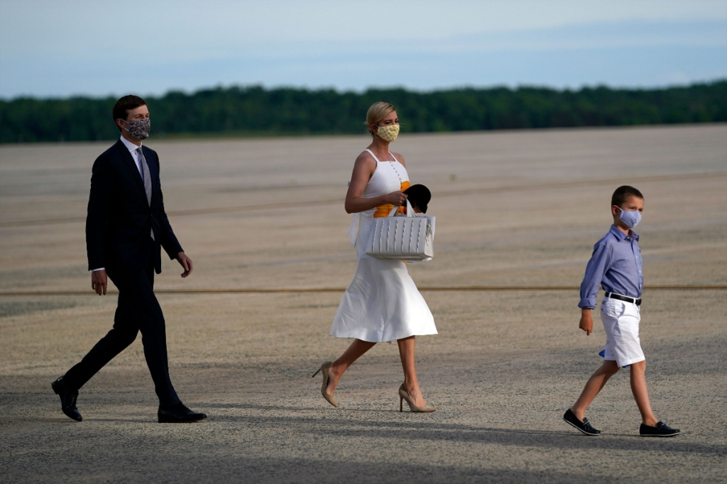 ivanka trump, style, dress, lele rose, white, orange, spacex, airport, air force, mask, nude pumps, jared kushner
