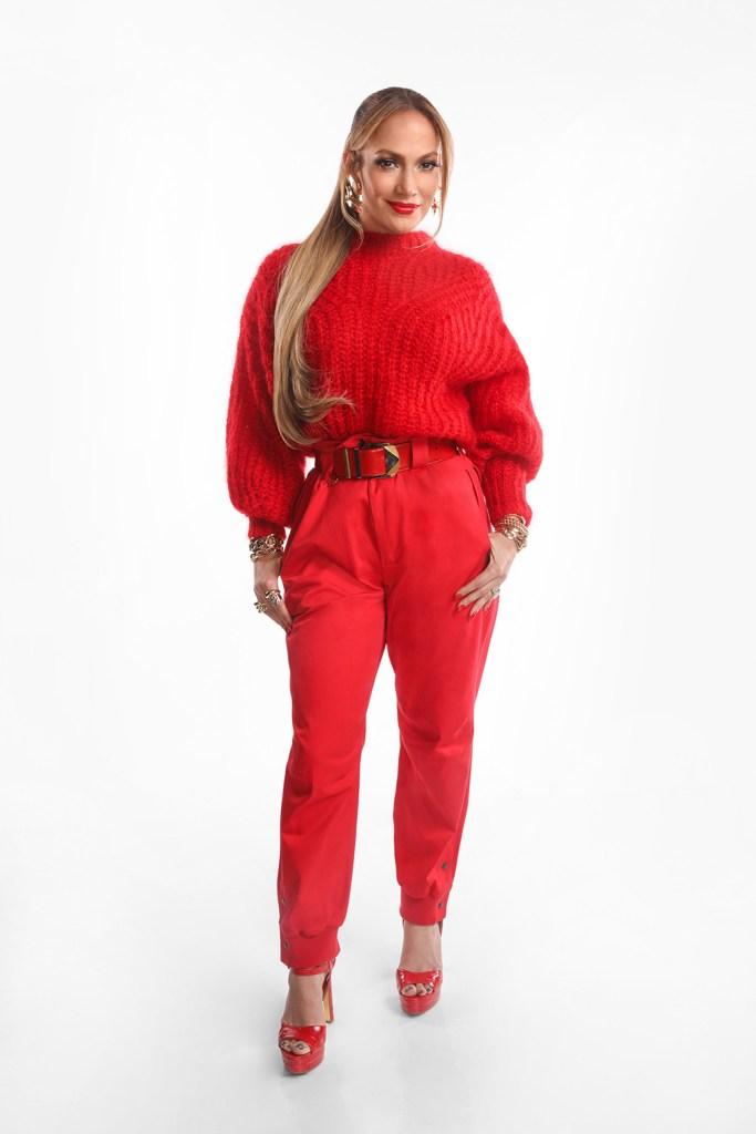 "j-lo, jennifer lopez, red sweater, red pants, red heels, dsw shoes, jlo jennifer lopez shoes, platform sandals, celebrity style, fashion, tre by natalia , WORLD OF DANCE -- ""Qualifiers"" Episode 401 -- Pictured: Jennifer Lopez -- (Photo by: Jordin Althaus/NBC)"