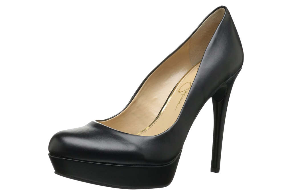 jessica simpson, pumps, black, round toe