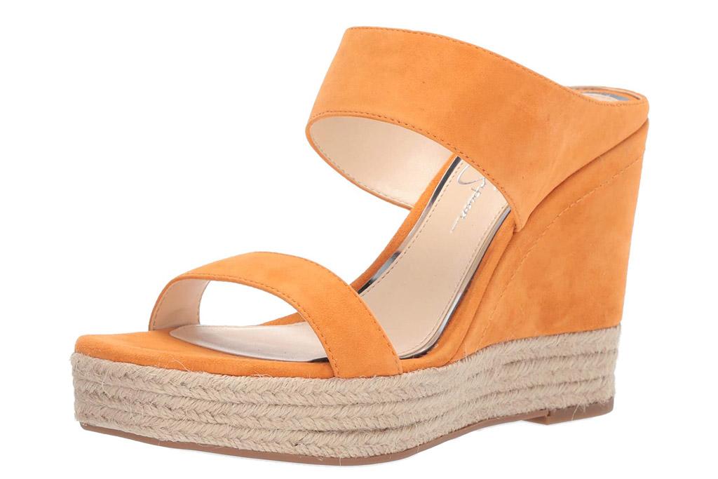 jessica simpson, wedges, orange