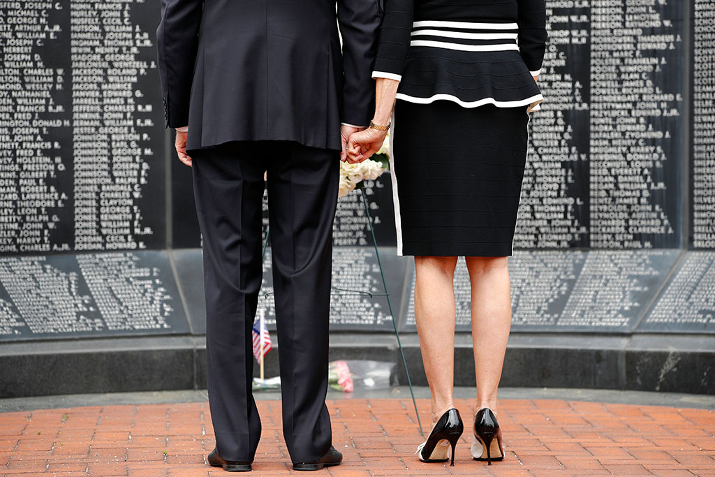 Democratic presidential candidate, former Vice President Joe Biden and Jill Biden hold hands as they pause after placing a wreath at the Delaware Memorial Bridge Veterans Memorial Park, in New Castle, DelElection 2020 Biden Appearance, New Castle, United States - 25 May 2020