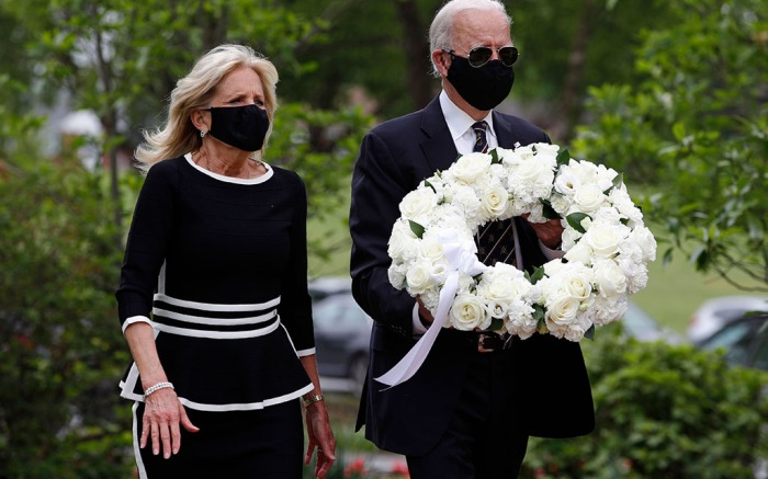 Democratic presidential candidate, former Vice President Joe Biden and Jill Biden arrive to place a wreath at the Delaware Memorial Bridge Veterans Memorial Park, in New Castle, DelElection 2020 Biden Appearance, New Castle, United States - 25 May 2020