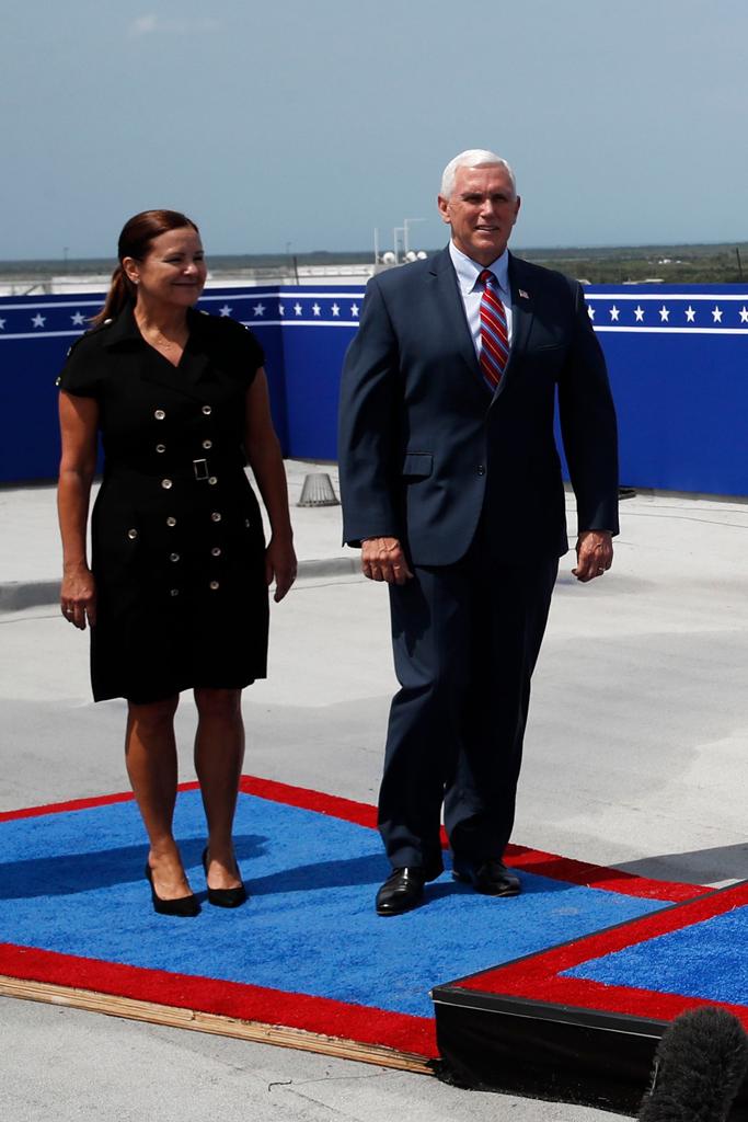 Karen Pence, little black dress, black pumps, vice president mike pence, space x launch, florida