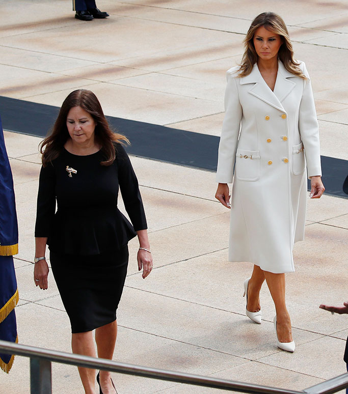First lady Melania Trump, center, Karen Pence, left, wife of Vice President Mike Pence and Leah Esper, wife of Defense Secretary Mark Esper, arrive at the Tomb of the Unknown Soldier in Arlington National Cemetery, where President Donald Trump will lay a wreath in honor of Memorial Day, in Arlington, VaVirus Outbreak Trump, Arlington, United States - 25 May 2020