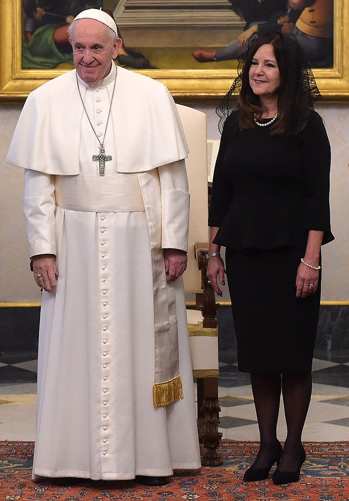 Pope Francis meets the Vice President of the United States of America Mike Pence, his wife Karen (R) and his daughter-in-law Sarah (L).US Vice President Mike Pence papal audience, Vatican City, Italy - 24 Jan 2020