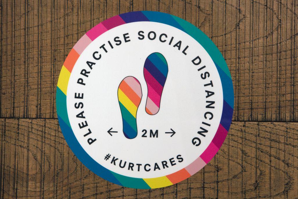Kurt Geiger social distancing floor sticker