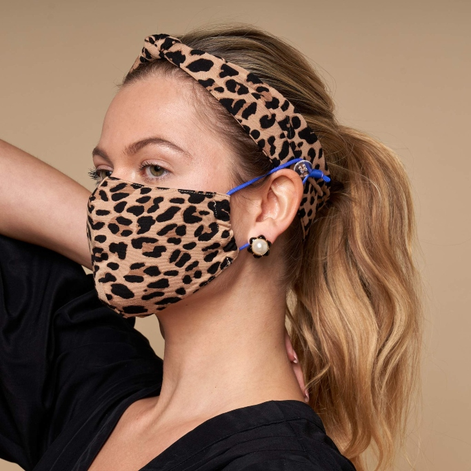 Lele Sadoughi leopard face mask and headband set, ear savers