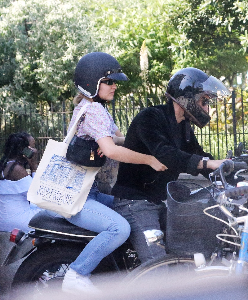 lily-rose depp, style, paris, motorcycle, step dad, jeans, reebok, shirt, bag