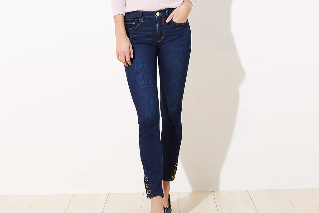 loft, snap jeans