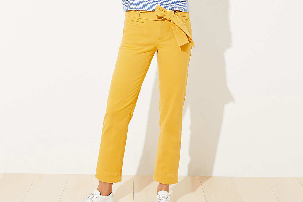 loft, tie waist, pants, yellow