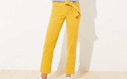 loft, tie waist, pants, yellow