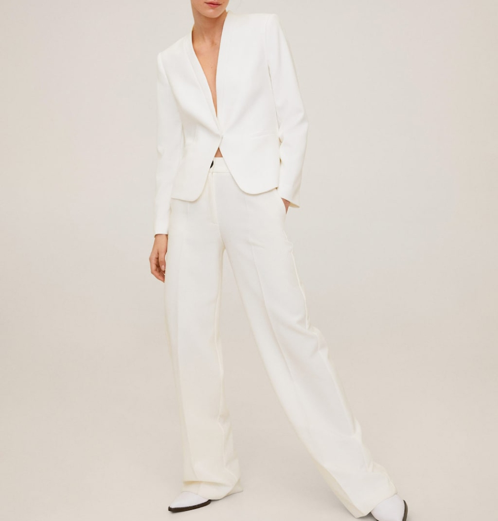 mango, suit, blazer, set, white, pants
