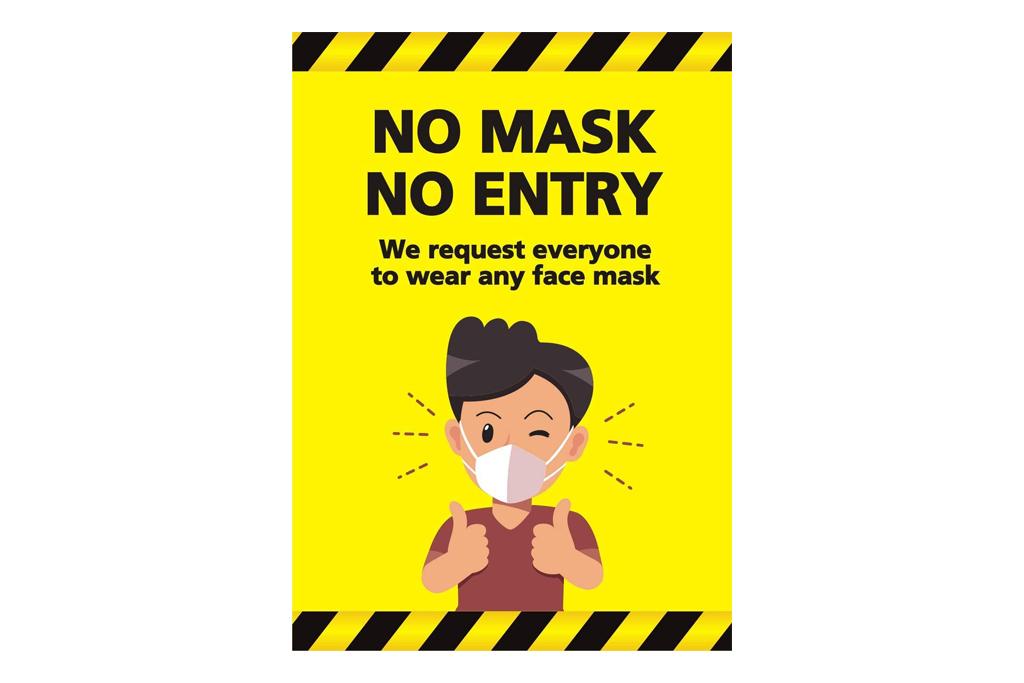 mask sticker, sign, social distance