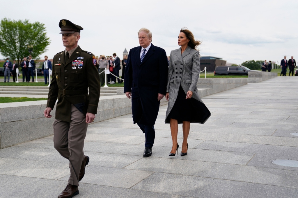 melania trump, altuzarra, donald trump, victory in europe day, style, gray, black, dc, national mall, pumps, coat