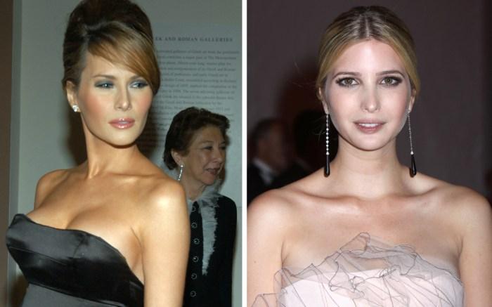 Melania Trump at the Met Gala in 2005 (L), Ivanka Trump at the Met Gala in 2009.