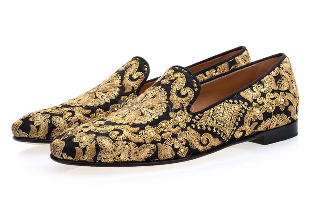 milanoo, gold loafers