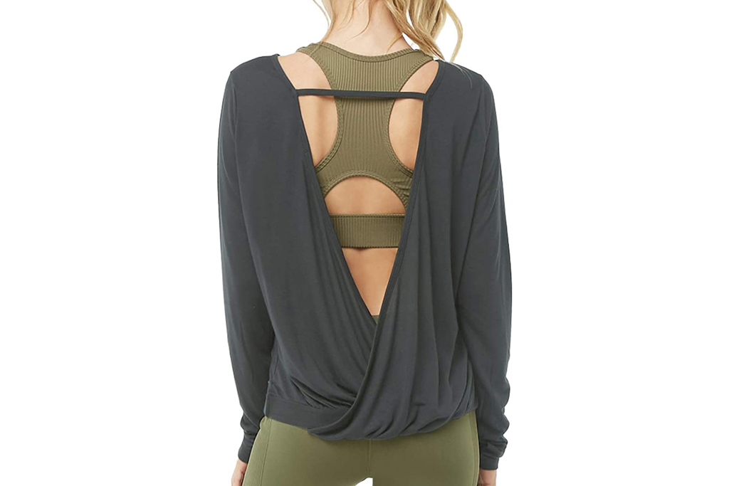 muezna, yoga top, open back