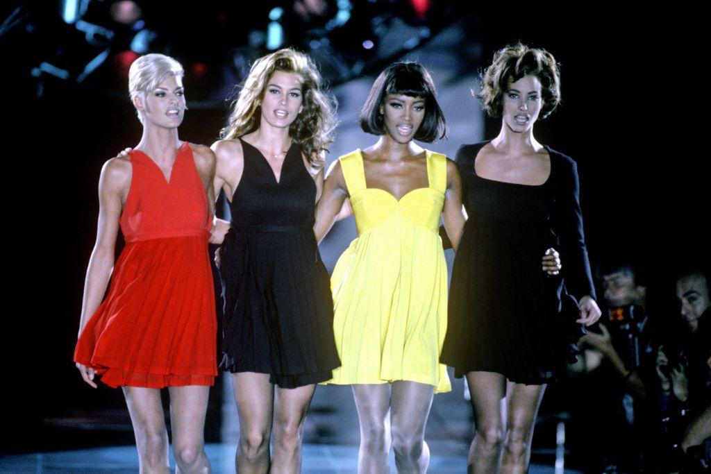 naomi campbell, linda evangelista, cindy crawford, christy turlington, versace 1991, versace runway show, supermodels, versace supermodels, '90s supermodels