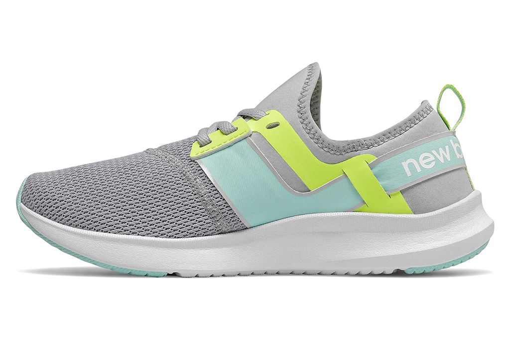 new balance, running shoes, gray, blue, green