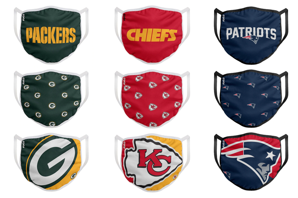 nfl, face masks, patriots, packers, chiefs