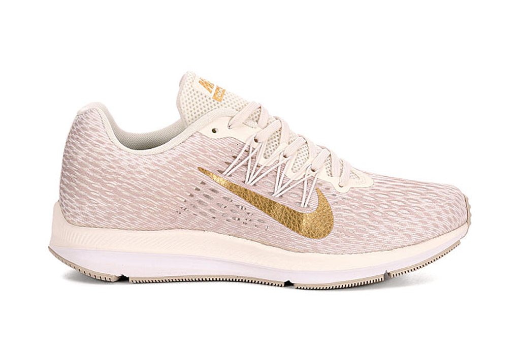 nike, pink, gold, white, sneakers