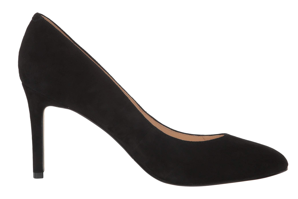 nine west, pumps, black, round toe