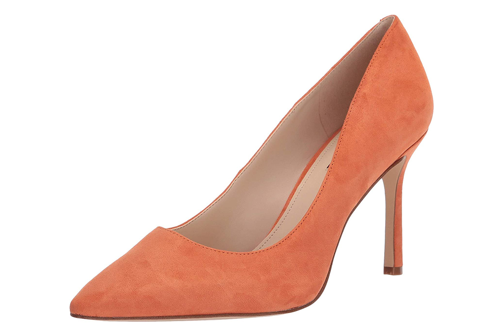 nine west, pumps, orange
