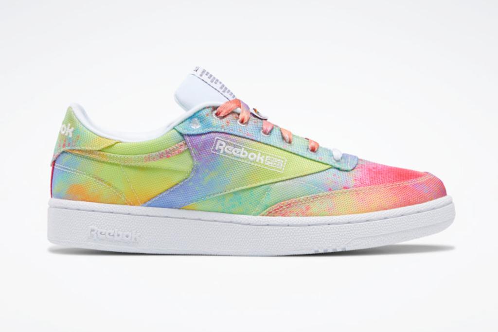 reebok, pride, club c, sneakers, rainbow
