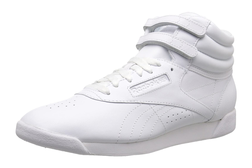 reebok, high top, sneaker, white
