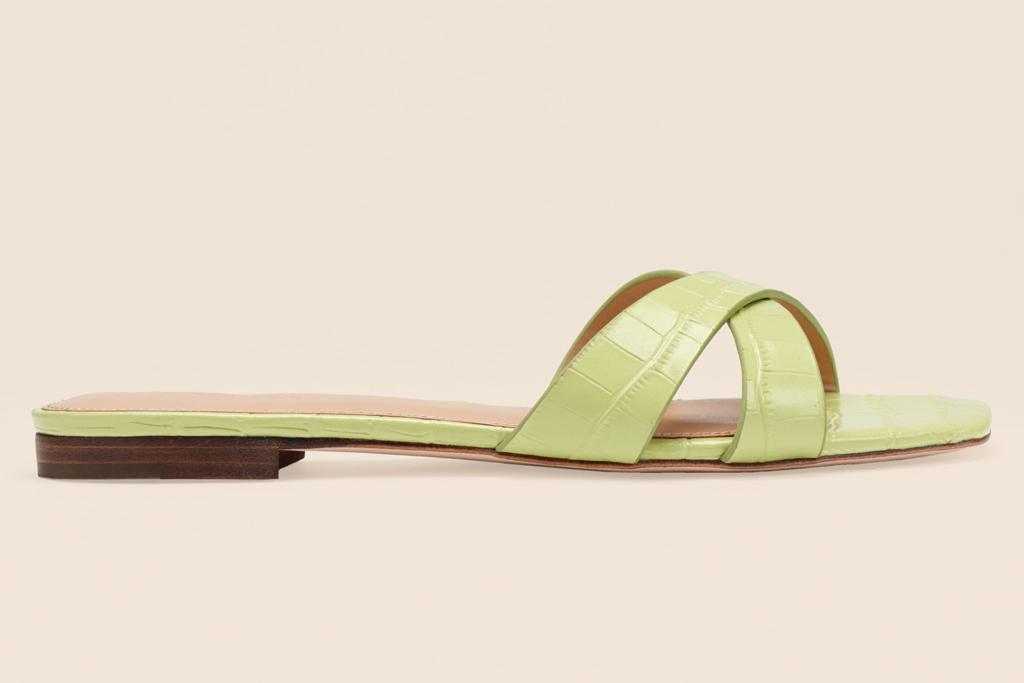 reformation, green sandals, slide
