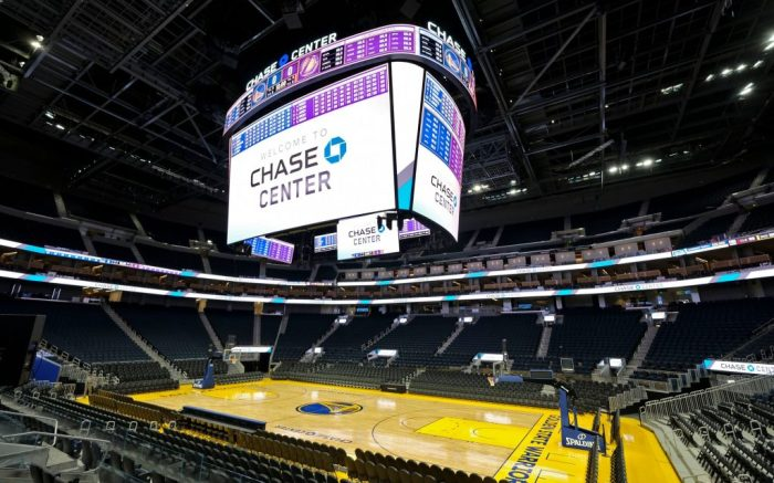 Is an interior view of the scoreboard and basketball court at the Chase Center in San Francisco. The Chase Center is the new home of the Golden State Warriors NBA basketball teamWarriors Chase Center Basketball, San Francisco, USA - 26 Aug 2019