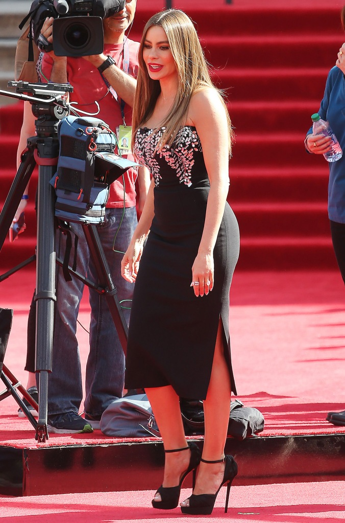 Sofia Vergara, red carpet, bodycon dress, platform heels, platform sandals, 'America's Got Talent' TV show season 15, Arrivals, Pasadena Civic Auditorium, Los Angeles, USA - 04 Mar 2020